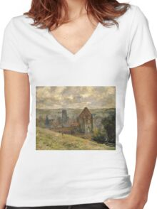 Claude Monet - Dieppe Fine Art Impressionism Women's Fitted V-Neck T-Shirt