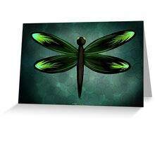 Dragonfly on Blue Pebbles Greeting Card
