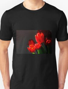 Red tulips on black background T-Shirt