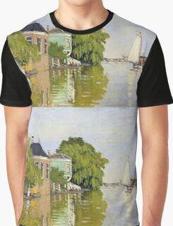 Claude Monet - Houses On The Achterzaan Impressionism Graphic T-Shirt