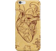 Pattern of heart, clockwork and key in steampunk style iPhone Case/Skin