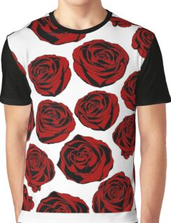 Pattern with red roses on white background.  Graphic T-Shirt