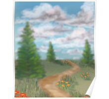 Landscape with fir trees Poster
