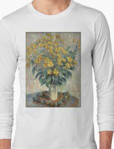 Flowers -Claude Monet - Jerusalem Artichoke Flowers 1880 Impressionism Long Sleeve T-Shirt