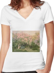 Lilac  Flowers -  Claude Monet - Lilac In The Sun 1873 Impressionism Women's Fitted V-Neck T-Shirt