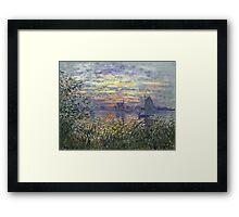 Marine View With A Sunset - Claude Monet Impressionism Framed Print