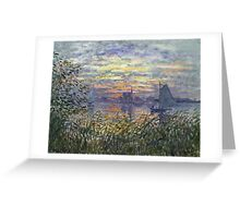 Marine View With A Sunset - Claude Monet Impressionism Greeting Card