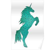 Geometric Unicorn - Teal 01 Poster