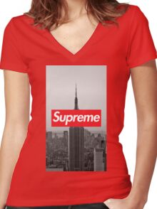 Supreme New York  Women's Fitted V-Neck T-Shirt