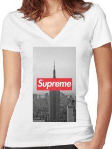 Supreme New York  Women's Fitted V-Neck T-Shirt