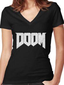 DOOM - WHITE Women's Fitted V-Neck T-Shirt
