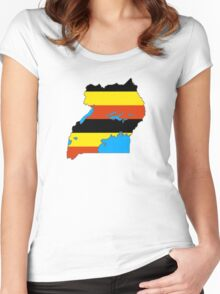 Flag Map of Uganda Women's Fitted Scoop T-Shirt