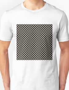 Pussy Willow and Black Classic Checkerboard Repeating Pattern T-Shirt
