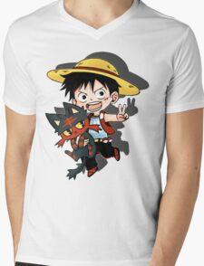 Luffy x Litten Mens V-Neck T-Shirt