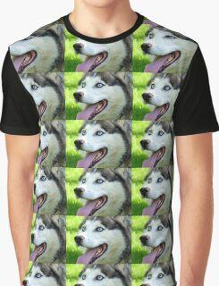 Micky Blue Eyes -Siberian Husky Dog - NZ Graphic T-Shirt