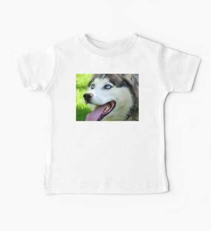 Micky Blue Eyes -Siberian Husky Dog - NZ Baby Tee