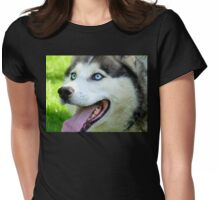 Micky Blue Eyes -Siberian Husky Dog - NZ Womens Fitted T-Shirt