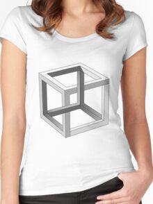 Mind blowing Escher's cube Women's Fitted Scoop T-Shirt