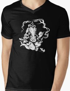 Nerdy Ganesha Mens V-Neck T-Shirt