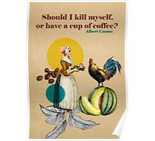 Vintage Coffee Art - Albert Camus Quote  Poster