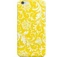 Yellow & White Elegant Floral Damasks iPhone Case/Skin
