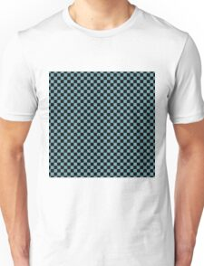 Hydrangea Blue and Black Classic Checkerboard Repeating Pattern Unisex T-Shirt