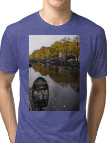 Autumn in Amsterdam - the Abandoned Boat Tri-blend T-Shirt