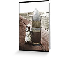 Little Girl Posed with Shell WWI Greeting Card