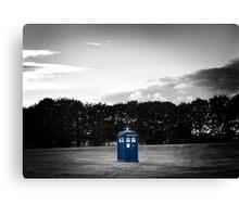 The TARDIS & sunset (the Blue Box colour edit) Canvas Print