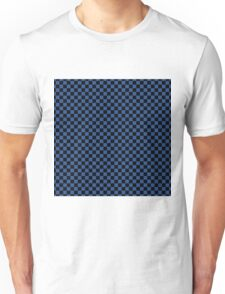 Delphinium Blue and Black Classic Checkerboard Repeating Pattern Unisex T-Shirt