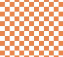 Nasturtium Orange and White Classic Checkerboard Repeating Pattern Sticker