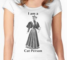 Cat Person (female) - with text Women's Fitted Scoop T-Shirt