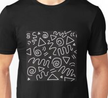 Postmodern Batik Doodle in Black/White Unisex T-Shirt