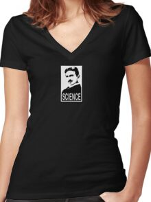 Nikola Tesla & Science Women's Fitted V-Neck T-Shirt