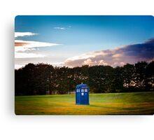The TARDIS & sunset Canvas Print