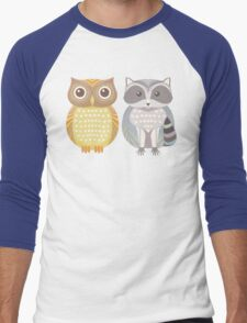 Owl & Raccoon Men's Baseball ¾ T-Shirt