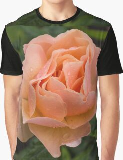 Peach Rose with Raindrops Graphic T-Shirt
