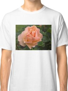 Peach Rose with Raindrops Classic T-Shirt
