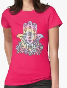 Tie Dye Pastel Neon Flower Crown Hamsa Yin Yang Trendy Hippie Print Womens Fitted T-Shirt