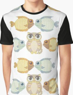 Cat With 4 Fish Graphic T-Shirt