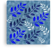 Blue and White Leaves, #redbubble, #design, #pattern Canvas Print