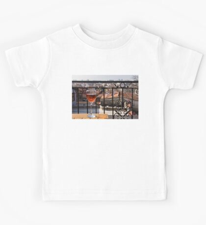 A Dreamy Glass of Rose - Enjoying a Fabulous View from a Wrought Iron Balcony Kids Tee