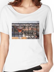 A Dreamy Glass of Rose - Enjoying a Fabulous View from a Wrought Iron Balcony Women's Relaxed Fit T-Shirt