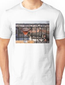 A Dreamy Glass of Rose - Enjoying a Fabulous View from a Wrought Iron Balcony Unisex T-Shirt