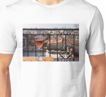A Dreamy Glass of Rose - Enjoying a Fabulous View from a Wrought Iron Balcony Unisex T-Shirt