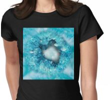 Aqua blue heart shaped crystals geode Womens Fitted T-Shirt