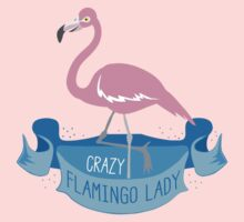 Crazy flamingo lady banner Kids Tee