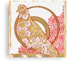 Pop Painted Watercolor - Bright coral and white floral pattern - pigeon bird collage Canvas Print