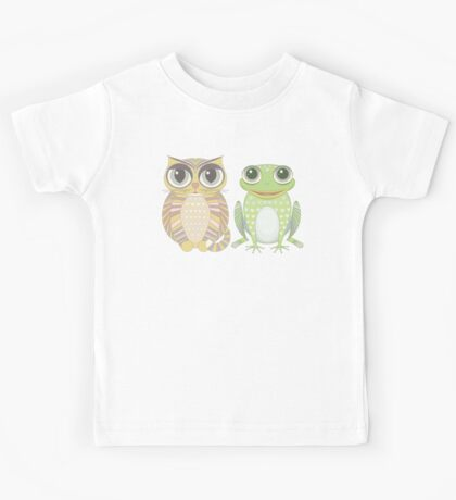 Big-Eyed Cat and Optimistic Frog Kids Tee