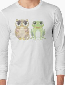Big-Eyed Cat and Optimistic Frog Long Sleeve T-Shirt
